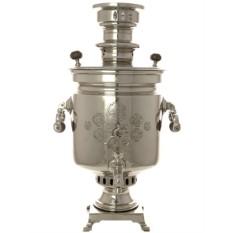 Антикварный комбинированный никелированный самовар Цилиндр