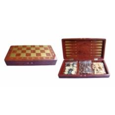 Красный набор настольных игр 3 в 1 шахматы, нарды, шашки