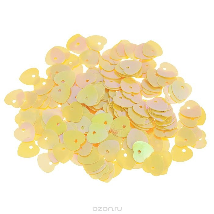 Пайетки Астра (сердечки), с перламутром, желто-лимонные (91)