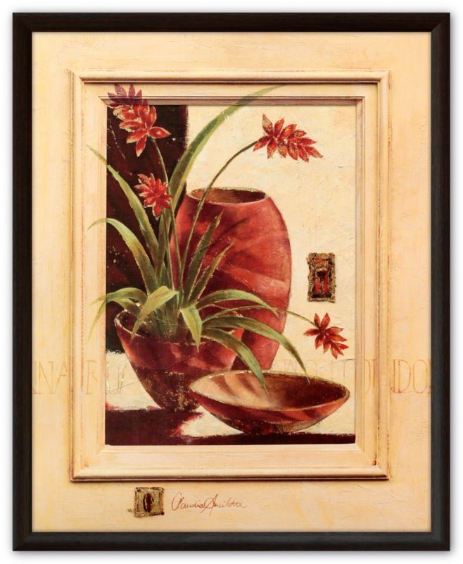 Картина (репродукция) Леопард (Красные цветы в горшках)