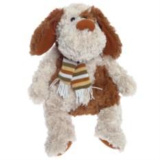 Мягкая игрушка в бежевых тонах Собака в шарфике (34 см)
