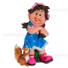 Декоративная садовая фигурка Девочка с белочкой
