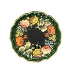 Круглый поднос Цветы на черном фоне