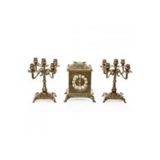 Бронзовые каминные часы и 2 канделябра на 5 свечей Ларец