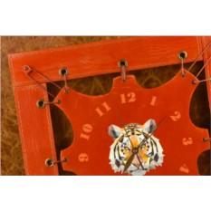 Часы из кожи Геометрический тигр (оранжевый)