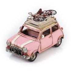 Модель ретро-автомобиля с фоторамкой (цвет — розовый)