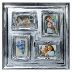 Настенный коллаж-фоторамка Санита квадро серебро