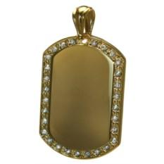Брелок-медальон золотистого цвета со стразами