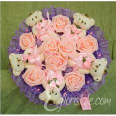 Фиолетово-розовый букет Винтаж из мишек