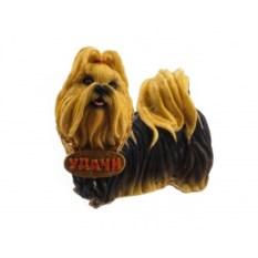 Декоративная фигурка собачки с табличкой Удачи
