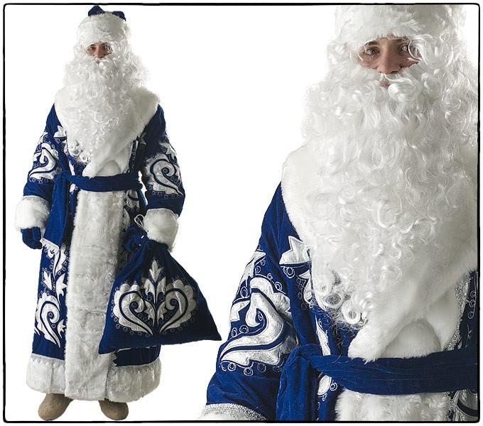 Костюм Дед Мороз, синий бархат с вышивкой