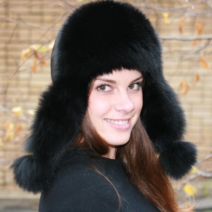 Женская шапка-ушанка из песца «Миледи»