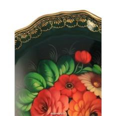 Круглый поднос Цветы в центре на зеленом (Жостово)