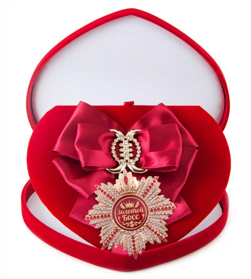 Большой Орден с малиновой лентой Золотой босс
