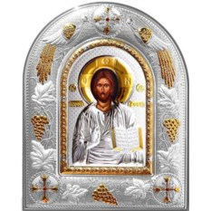 Икона Иисуса Христа в серебряном окладе Спас Вседержитель