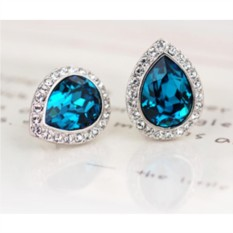 Серьги с синими кристаллами Сваровски «Лира»
