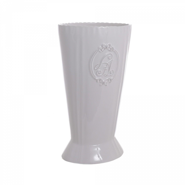 Белая керамическая ваза Вензель