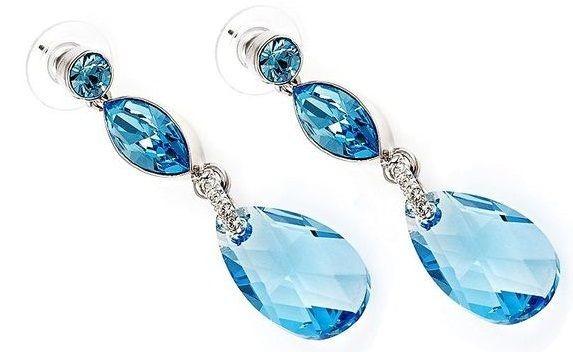 Серьги с кристаллами Swarovski Сальса голубые