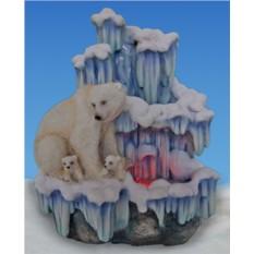 Фонтан с подсветкой Семья белых медведей у льдины