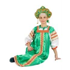 Русский народный костюм: зеленый комплект Василиса