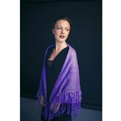 Фиолетовый пуховый платок Голубушка