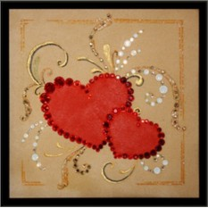 Картина с кристаллами Swarovski Два сердца