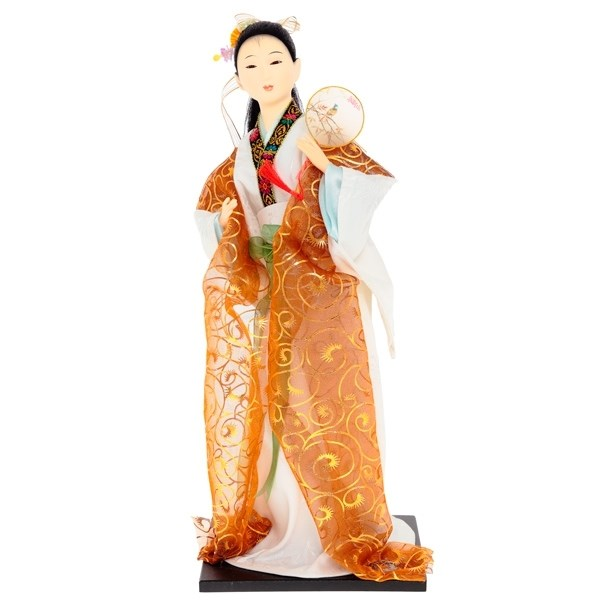 Кукла декоративная Гейша в золотистом кимоно