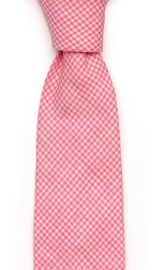 Розовый в мелкую клетку галстук Fumagalli из льна