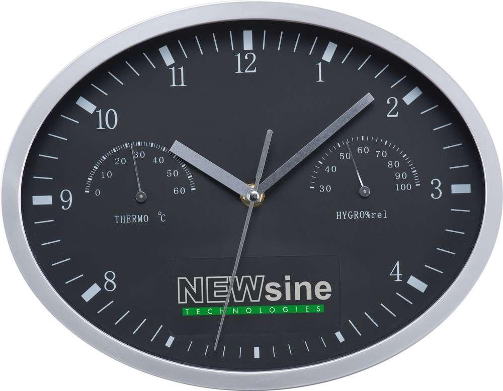 Часы настенные Insert3, с термометром и гигрометром, черные