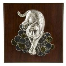Плакетка Тигр на монетах