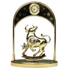 Декоративная фигурка с часами - знак Зодиака Телец