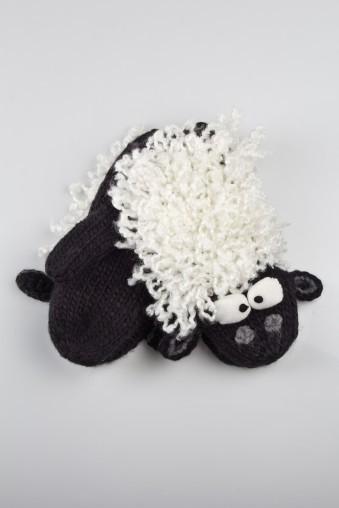 Варежки Милая овечка (черно-белые)