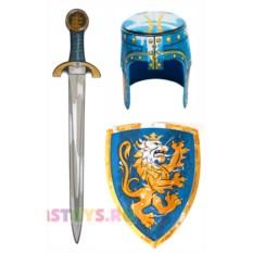 Детский синий набор рыцаря (щит, меч, шлем)
