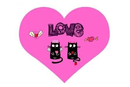 Подушка Сердце с кошками