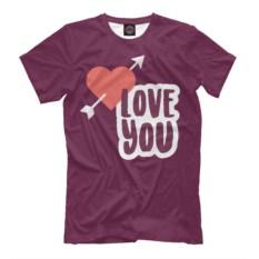 Мужская футболка Love You с изображением сердца