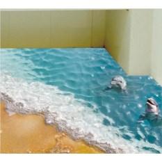 Напольный 3D-стикер Дельфины в море