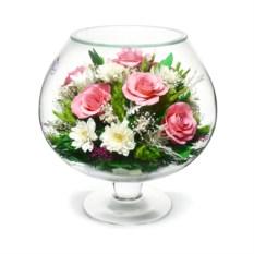 Композиция из натуральных роз и хризантем