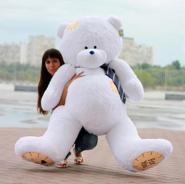 Плюшевый мишка Тедди (190 см), цвет – белый