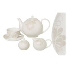 Чайный фарфоровый сервиз Магнолия на 6 персон 15 предметов
