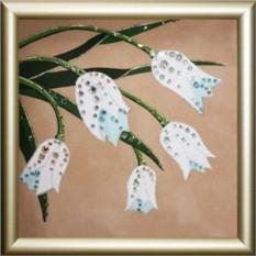 Картина Swarovski Букет белых тюльпанов, 12х12 см, кристаллов 150