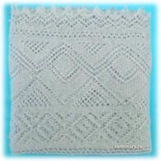 Оренбургский пуховый платок, голубой (паутинка)