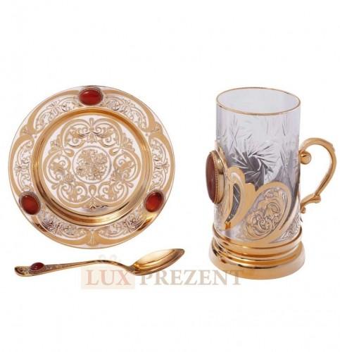 Набор для чая из г. Златоуст (позолота,хрусталь)