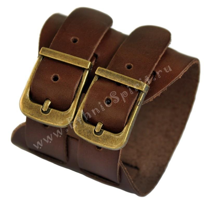 Кожаный браслет-напульсник с двумя застежками-ремешками