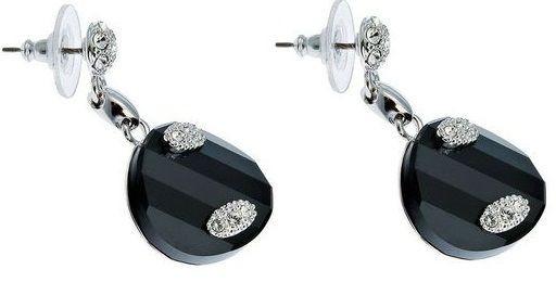 Серьги с кристаллами Swarovski Помпадур Твист черные