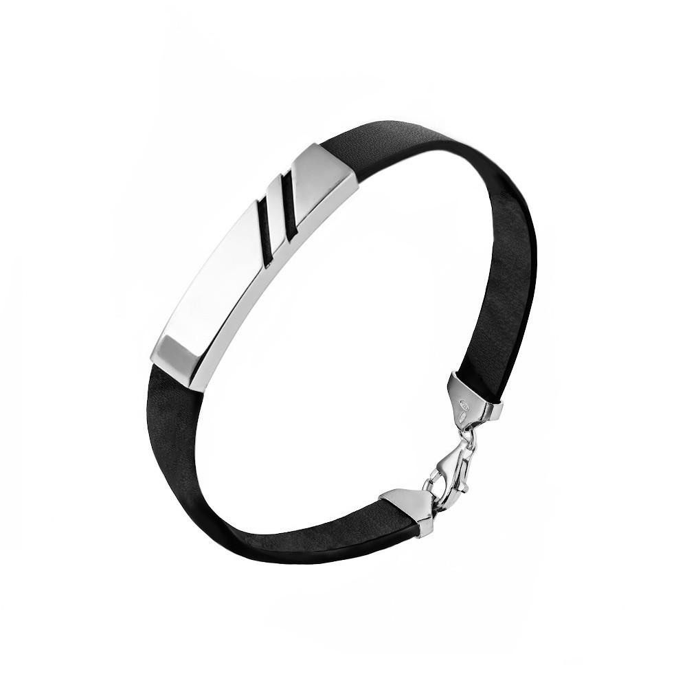 Мужской браслет из черной кожи с серебром