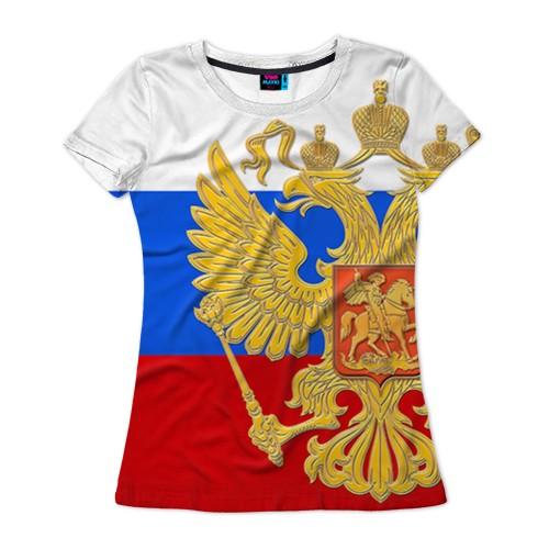 Женская футболка с полной запечаткой Флаг и герб