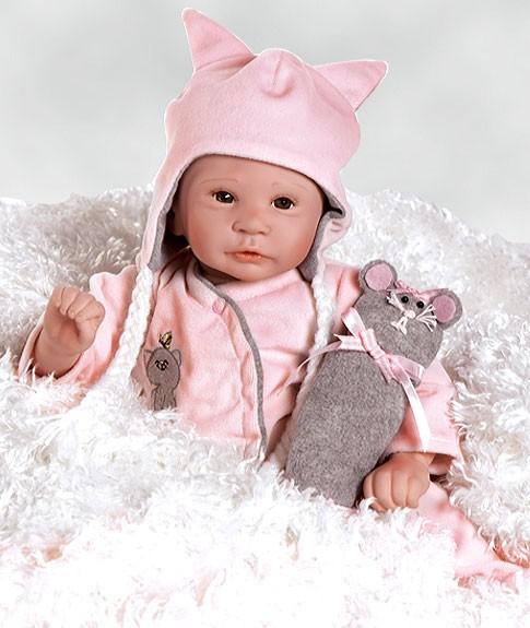 Коллекционная виниловая кукла-младенец Маленькая мышка