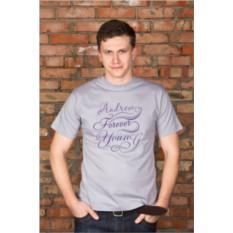 Мужская именная футболка с вашим текстом Forever young