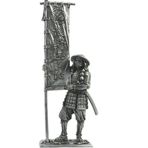 Японский воин-монах с флагом, 1185 год