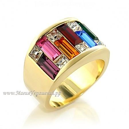 Кольцо с цветными кристаллами